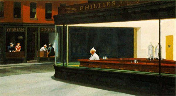 Nighthawks forever 12 april 2009 for Diner painting